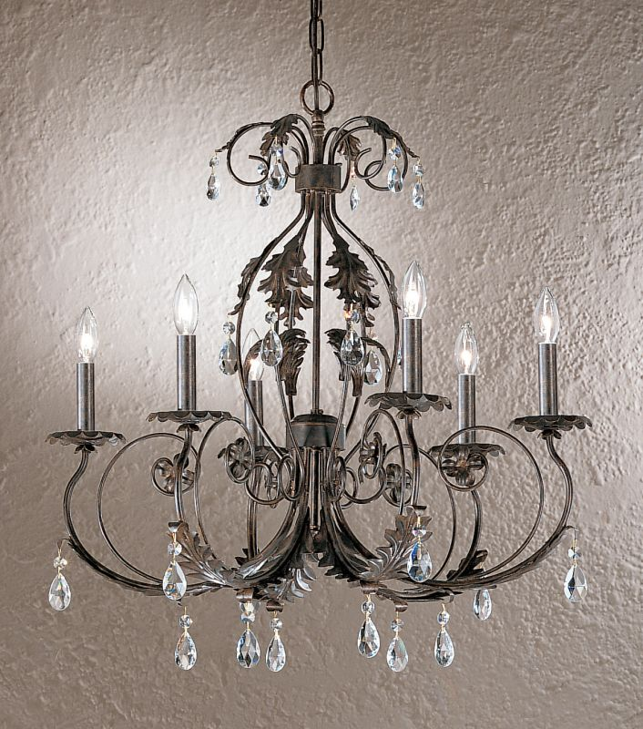 "Classic Lighting 3616-EB 28"" Wrought Iron with Crystal Chandelier from"