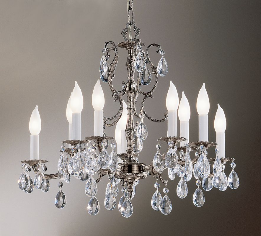 """Classic Lighting 5210-MS 18"""" Crystal Cast Brass Chandelier from the"""