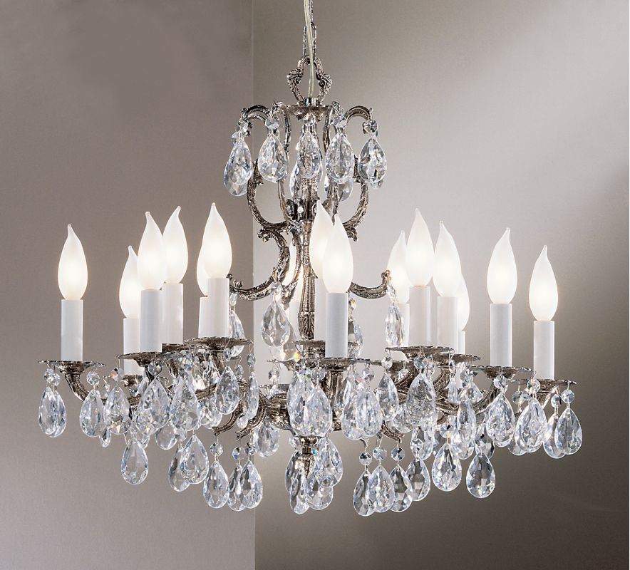 "Classic Lighting 5216-MS 19"" Crystal Cast Brass Chandelier from the"