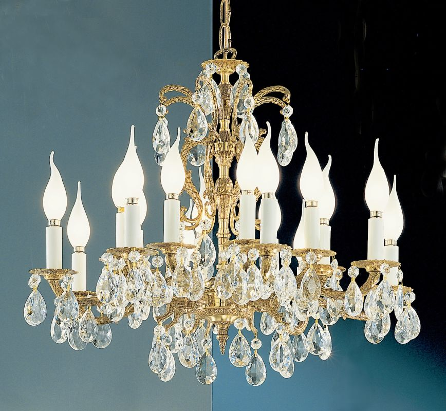 "Classic Lighting 5216-OWB 19"" Crystal Cast Brass Chandelier from the"