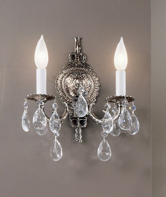 "Classic Lighting 5222-MS 12"" Crystal Cast Brass Wallchiere from the"