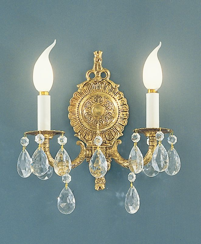 "Classic Lighting 5222-OWB 12"" Crystal Cast Brass Wallchiere from the"