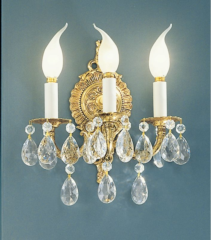 "Classic Lighting 5223-OWB 12"" Crystal Cast Brass Wallchiere from the"