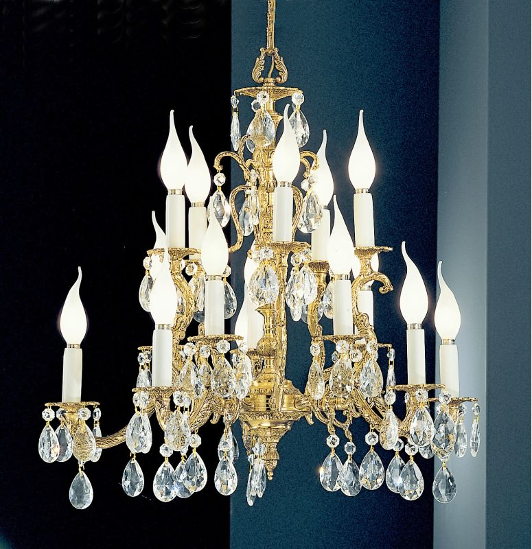 "Classic Lighting 5515-OWB 23"" Crystal Cast Brass Chandelier from the"