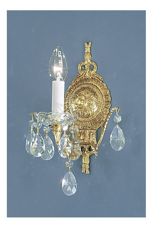 "Classic Lighting 5531-RB 12"" Crystal Cast Brass Wallchiere from the"
