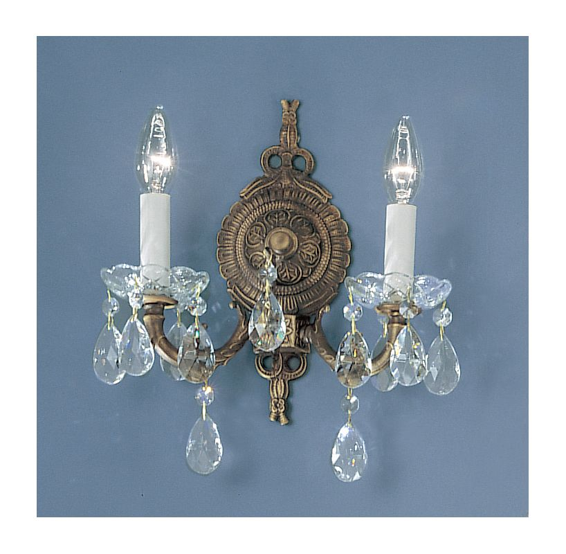 "Classic Lighting 5532-RB 12"" Crystal Cast Brass Wallchiere from the"