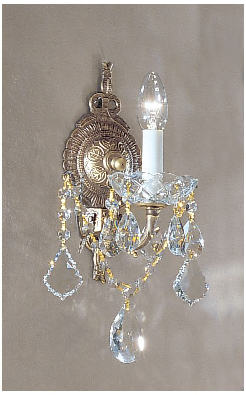 "Classic Lighting 5541-RB 12"" Crystal Cast Brass Wallchiere from the"