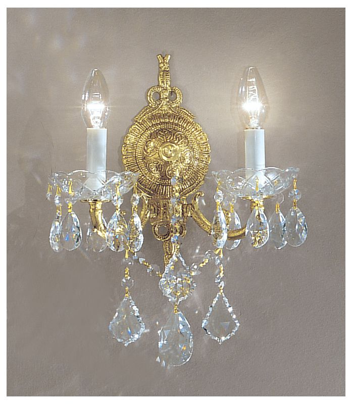 "Classic Lighting 5542-OWB 4"" Crystal Cast Brass Wallchiere from the"