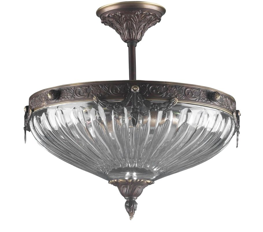 "Classic Lighting 55430 14"" Cast Brass Lead Crystal Semiflush from the"
