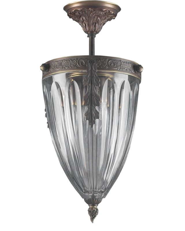 """Classic Lighting 55431 17"""" Cast Brass Lead Crystal Semiflush from the"""