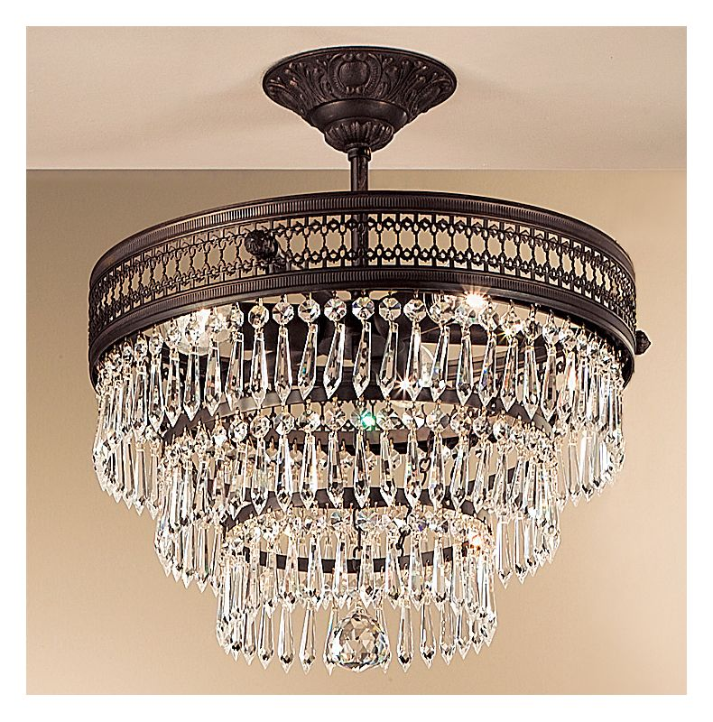 "Classic Lighting 55513-MB 17"" Crystal Semiflush from the Renaissance"