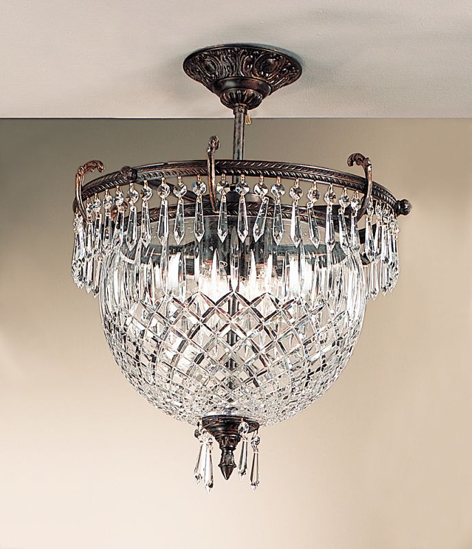"Classic Lighting 55533-OX 20"" Cast Brass & Lead Crystal Semiflush from"