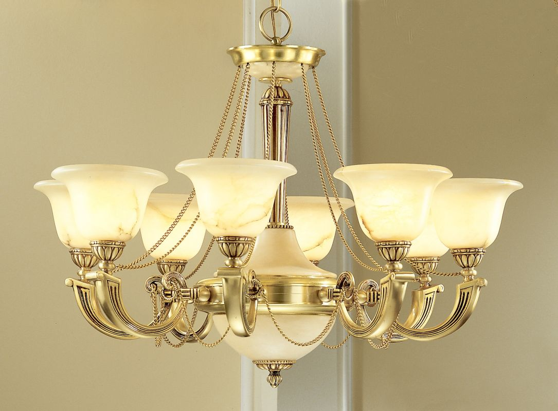 "Classic Lighting 56228 25"" Alabaster Chandelier from the Monica"