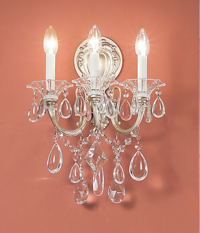 """Classic Lighting 57003-SS 16"""" Crystal Wallchiere from the Via Venteo"""
