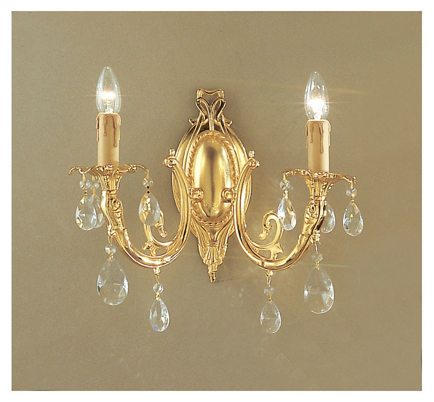 "Classic Lighting 5702-G 14"" Crystal Cast Brass Wallchiere from the"