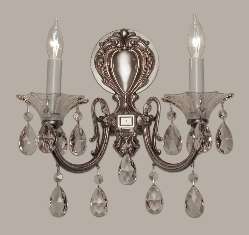 "Classic Lighting 57052-MS 13"" Crystal Wallchiere from the Via Lombardi"