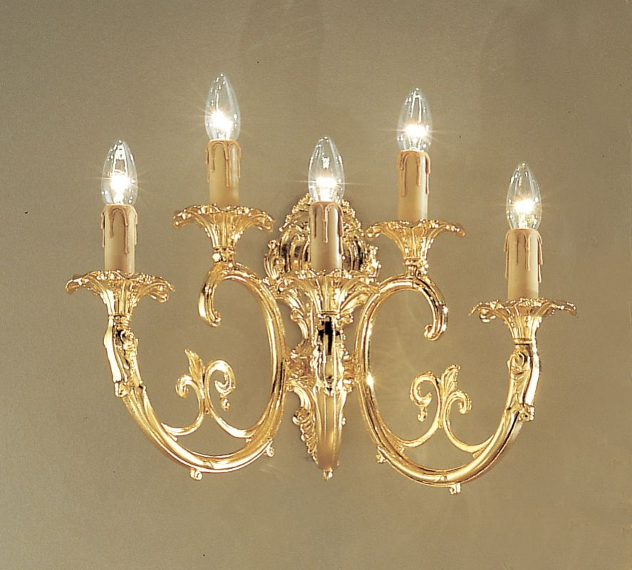 "Classic Lighting 5705-G 13.5"" Crystal Cast Brass Wallchiere from the"