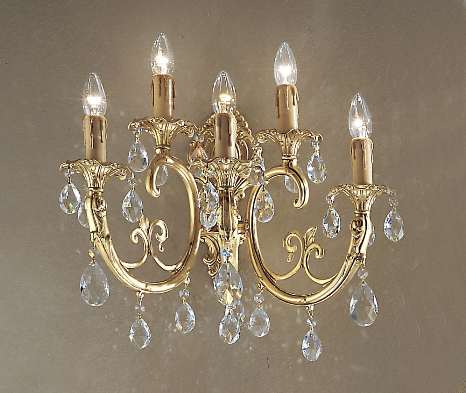 "Classic Lighting 5705-SBB 13.5"" Crystal Cast Brass Wallchiere from the"