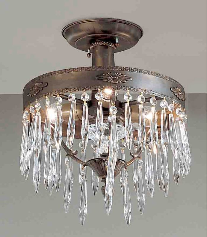 "Classic Lighting 57313-AGB 15"" Crystal Semiflush from the Duchess"