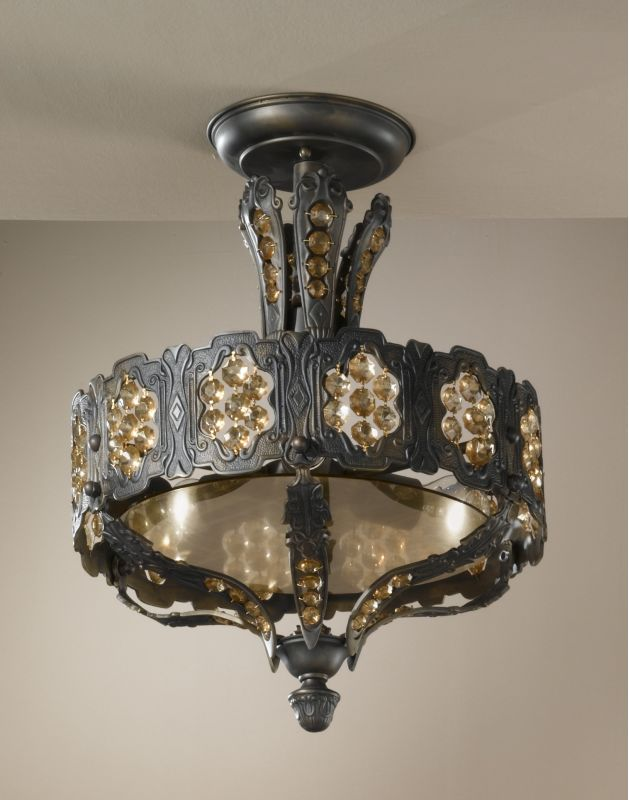 "Classic Lighting 57330-AGB 21"" Cast Brass Semiflush from the Castillio"