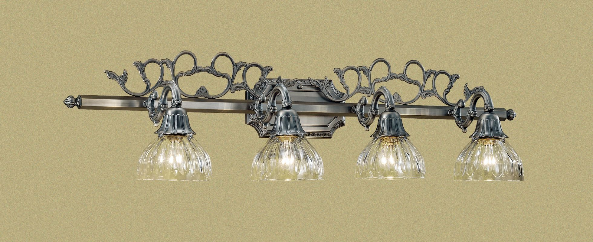 "Classic Lighting 57368 10"" Cast Brass & Lead Crystal 4 Light Vanity"