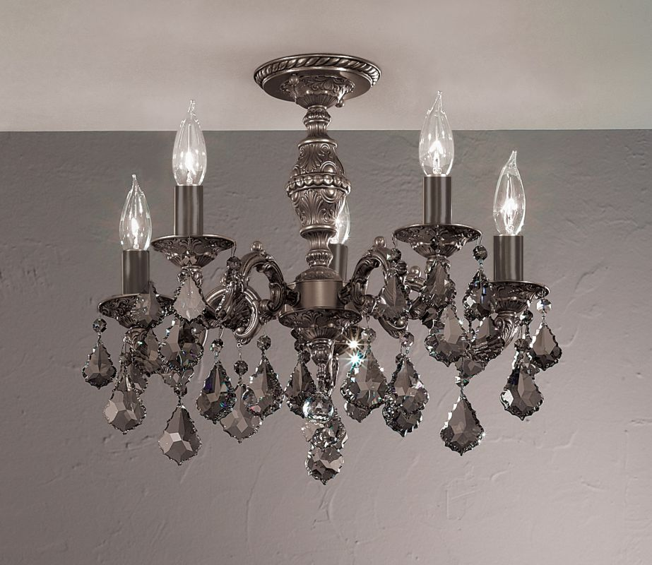 "Classic Lighting 57374-AGB 18"" Crystal Semiflush from the Chateau"