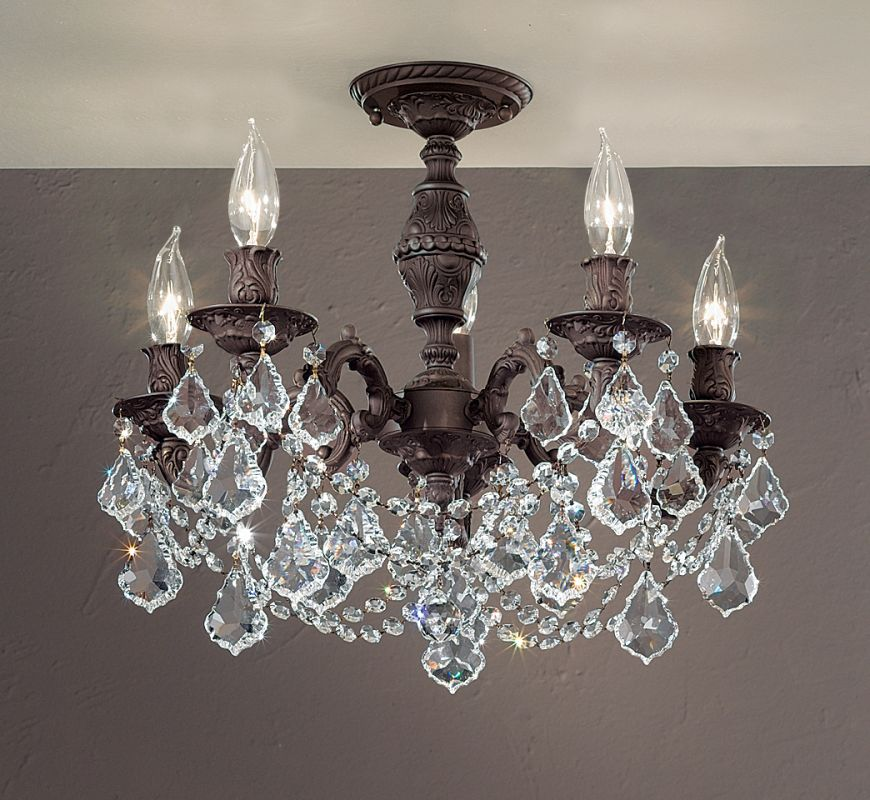 "Classic Lighting 57384-AGB 18"" Crystal Semiflush from the Chateau"