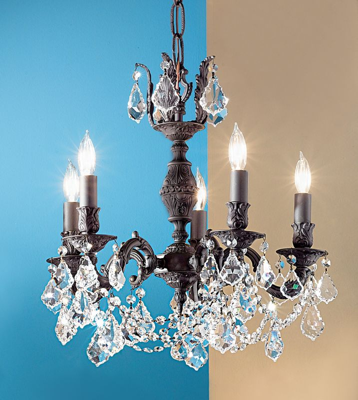 "Classic Lighting 57385-AGB 18"" Crystal Chandelier from the Chateau"
