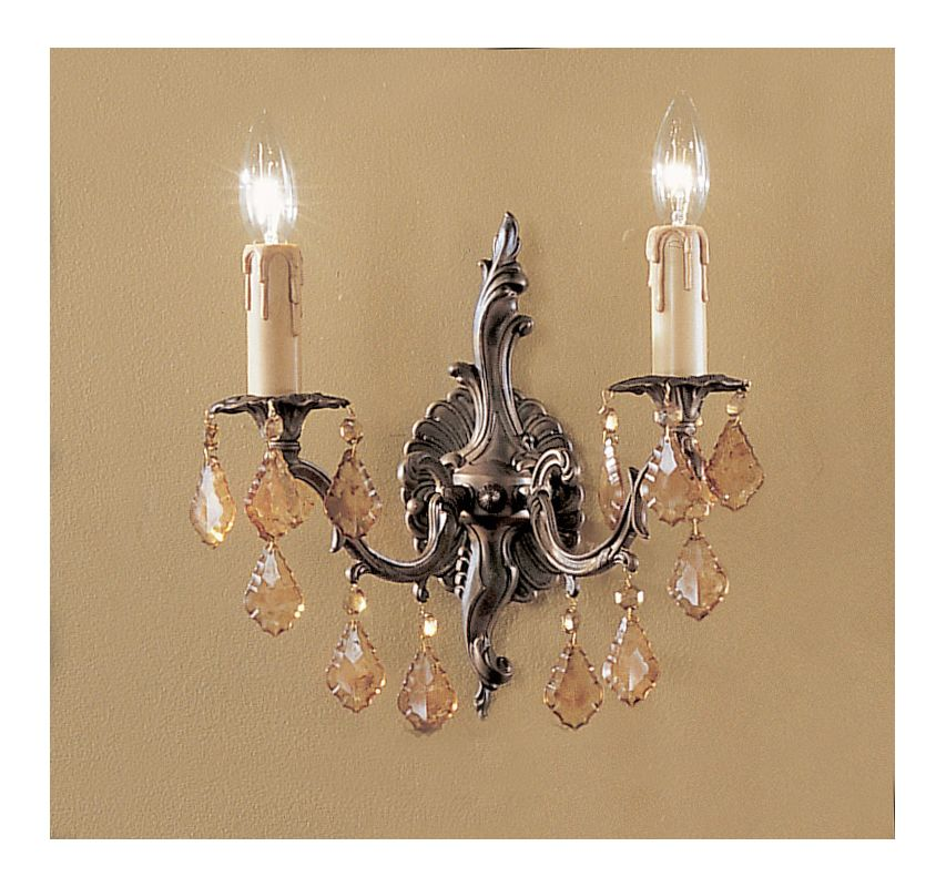 """Classic Lighting 5752-AGB 11"""" Crystal Cast Brass Wallchiere from the"""