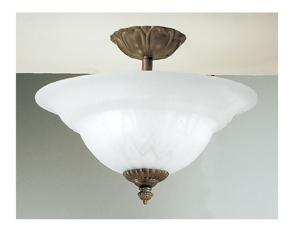 "Classic Lighting 68119 11"" Cast & Glass Semiflush from the Yorkshire"