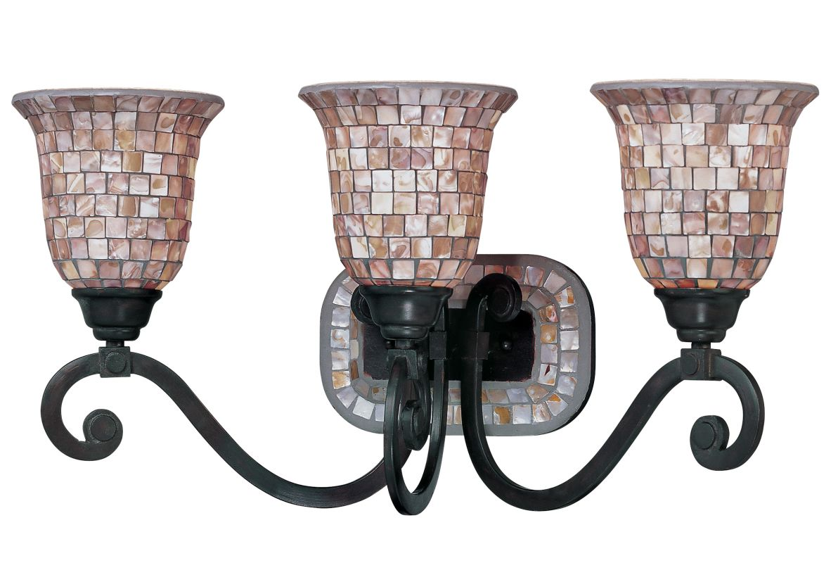 "Classic Lighting 71143 12"" Wrought Iron 3 Light Vanity from the Pearl"