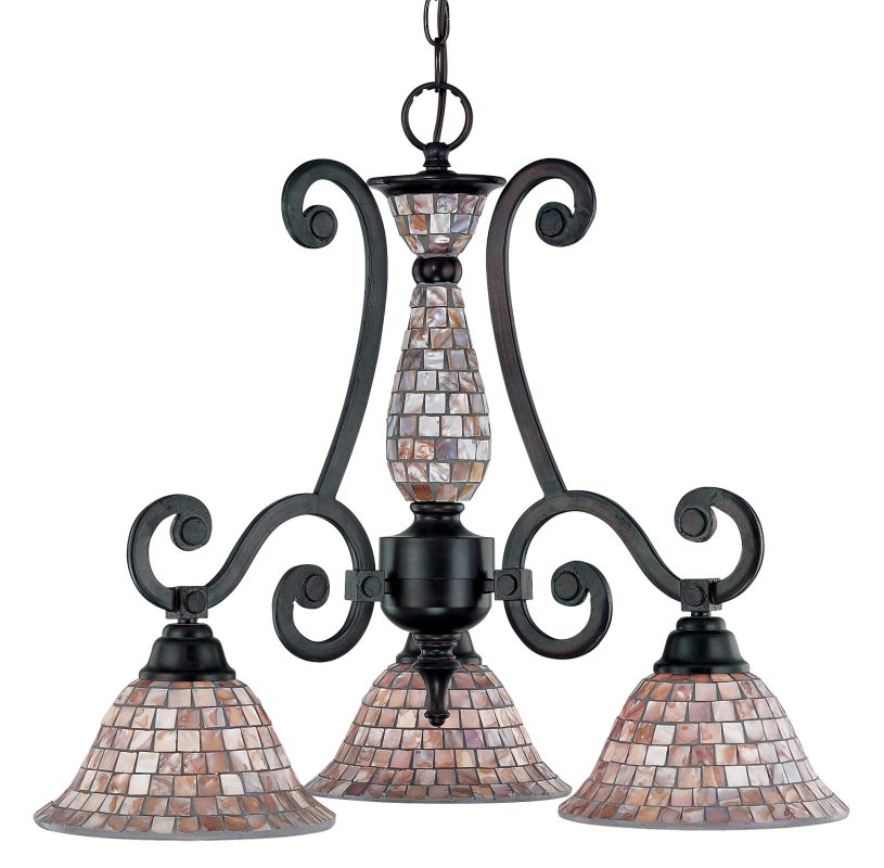 "Classic Lighting 71146 20"" Wrought Iron Chandelier from the Pearl"