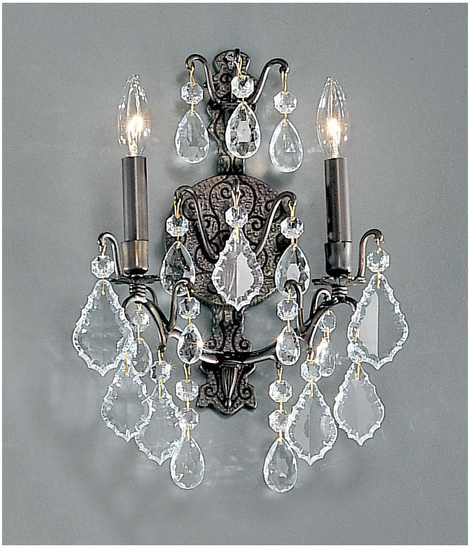 """Classic Lighting 8000 17"""" Crystal Cast Brass Wallchiere from the"""