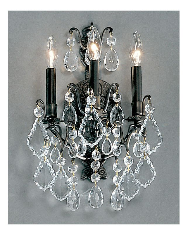 """Classic Lighting 8001 17"""" Crystal Cast Brass Wallchiere from the"""