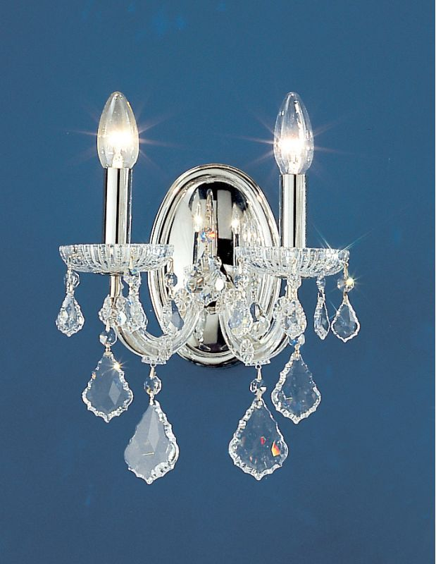 """Classic Lighting 8102-CH 13"""" Crystal Traditional Wallchiere from the"""