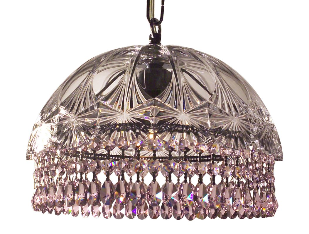 Classic Lighting 8221-CH Prague 1 Light Pendant with Crystal Accents