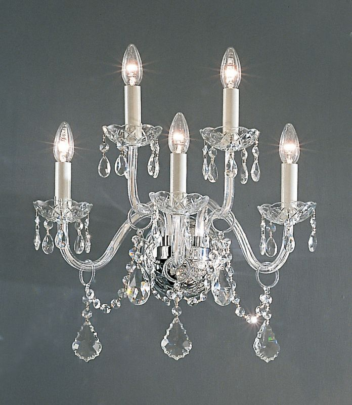 "Classic Lighting 8260-CH 18"" Crystal All Glass Wallchiere from the"