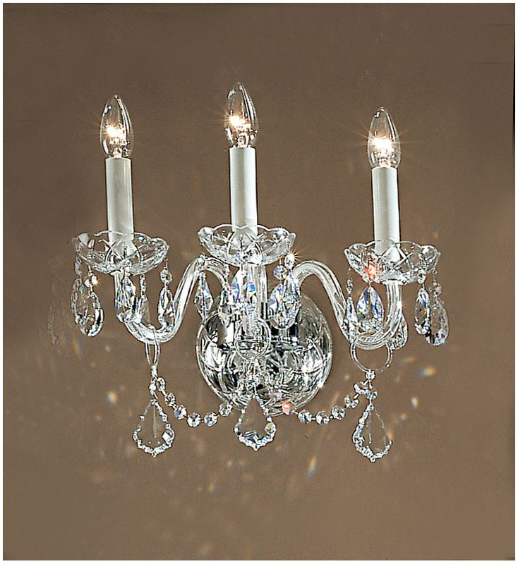 "Classic Lighting 8269-CH 14"" Crystal All Glass Wallchiere from the"