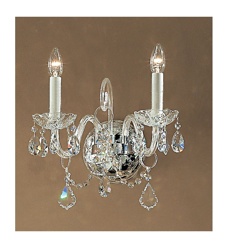 "Classic Lighting 8272-CH 14"" Crystal All Glass Wallchiere from the"