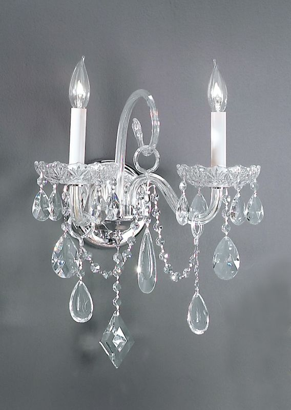 "Classic Lighting 8282-CH 16"" Crystal All Glass Wallchiere from the"
