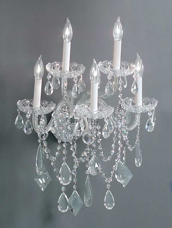 "Classic Lighting 8285-CH 20"" Crystal All Glass Wallchiere from the"