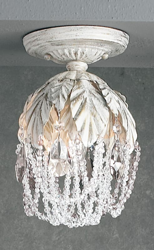 "Classic Lighting 8330-AW 9"" Crystal Semiflush from the Petite Fleur"