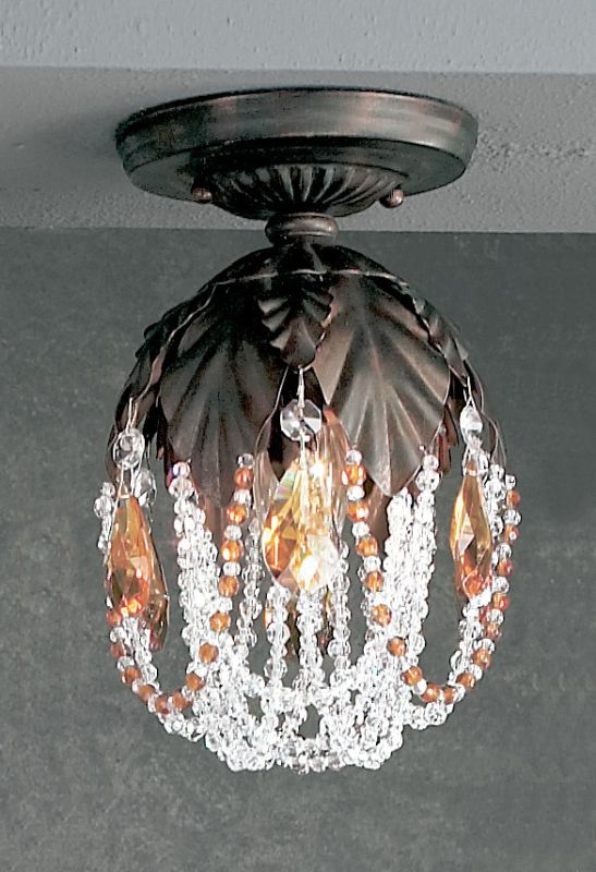 "Classic Lighting 8330-EB 9"" Crystal Semiflush from the Petite Fleur"