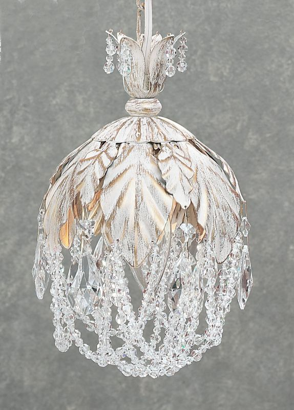 Classic Lighting 8331-AW Petite Fleur 1 Light Pendant with Crystal