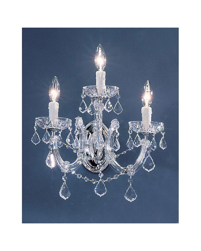 "Classic Lighting 8343-CH 14"" Crystal Wallchiere from the Rialto"