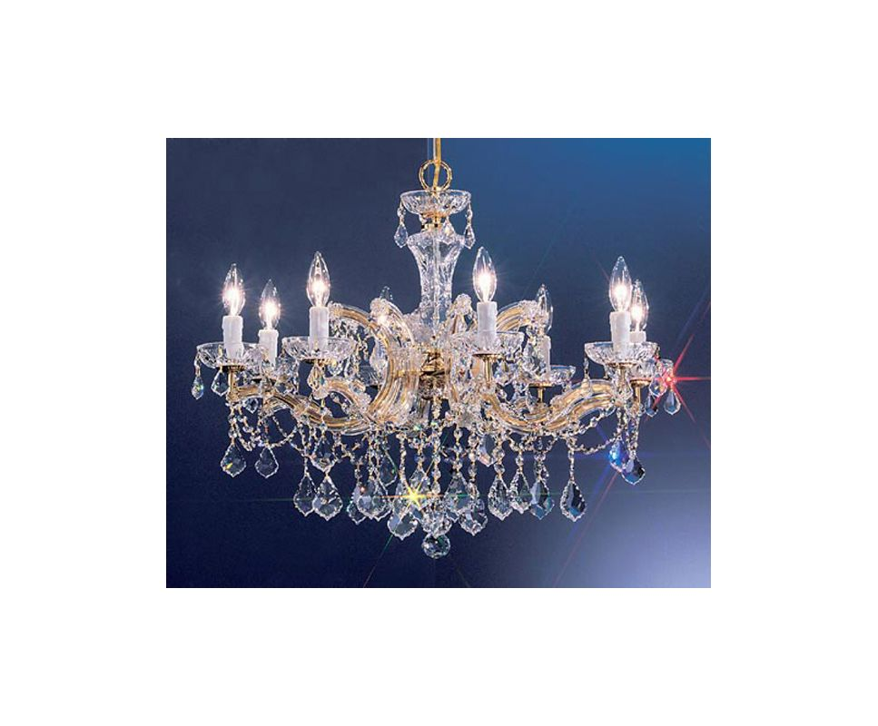 "Classic Lighting 8348-GP 21"" Crystal Chandelier from the Rialto"