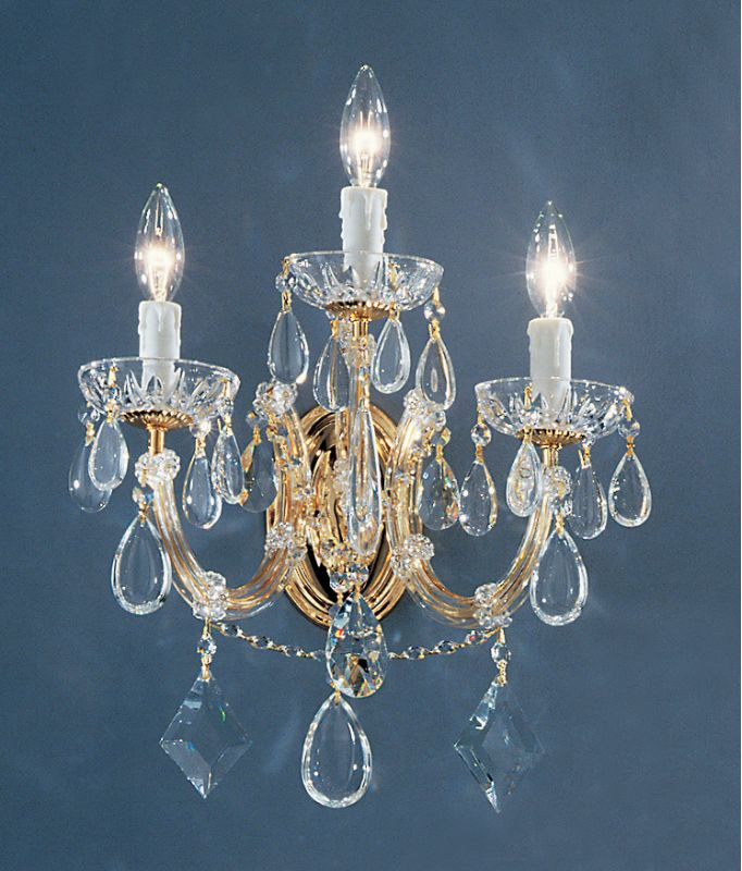 "Classic Lighting 8353-GP 18"" Crystal Wallchiere from the Rialto"
