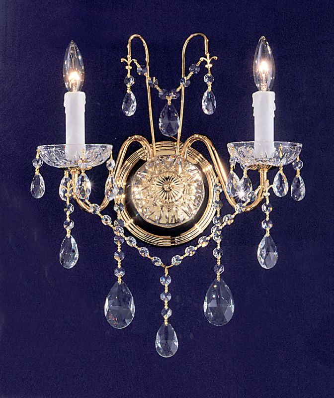 "Classic Lighting 8392-GP 14"" Crystal Wallchiere from the Daniele"