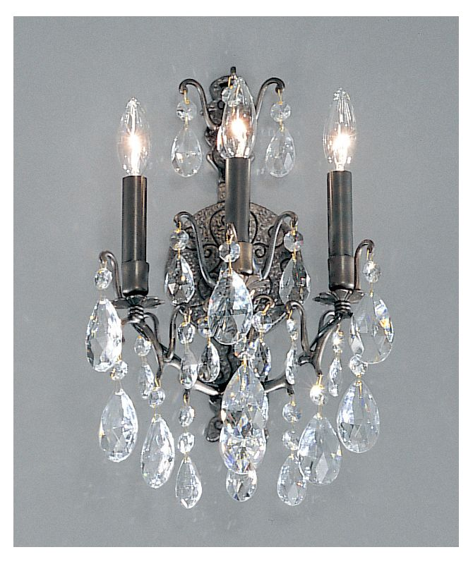 "Classic Lighting 9001-AB 17"" Crystal Wallchiere from the Versailles"