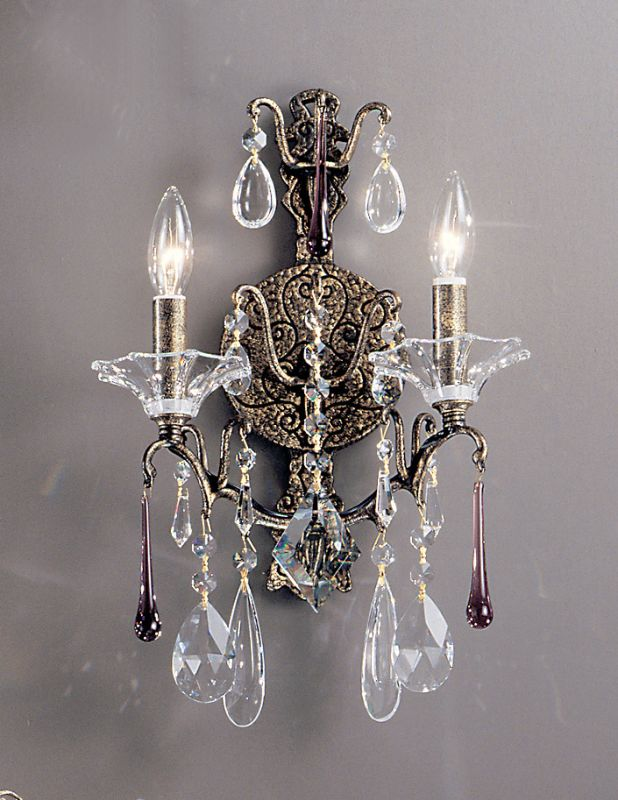 "Classic Lighting 9052-ABG 17"" Crystal Wallchiere from the Garden of"